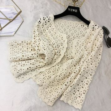 Trendy Knit Jacket Coat Women's Thin Short Coats 2018 New Spring Summer Holiday Beach Shawl All-match Cardigan Outwear AT_94_13