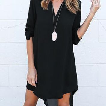 Black V-neck Roll-up Sleeve Dipped Hem Dress