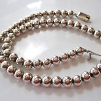 Vintage Silver Mexican Ball Choker Necklace