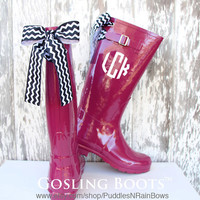 Custom Raspberry Gloss Boot with Your Choice of Bow & Monogram