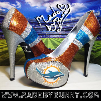 Miami Dolphins DESIGN FOR HEELS | Custom Glitter & Crystal Rhinestone Bedazzled Sports Shoes | nfl | football | game day