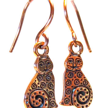 For the cat lover, charming antique copper cat drop earrings