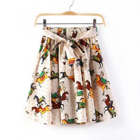 Horse Print Tie-Waist Pleat Skirt
