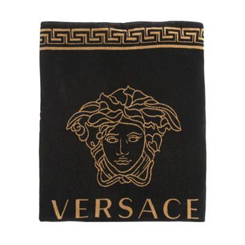 Black and Gold Medusa Summer Beach Towel by Versace