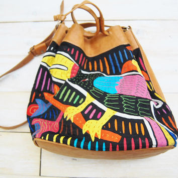 The Toucan - Vintage Brown Leather with Fabric Mola Art Bag Purse