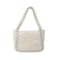 Chanel Pearl White Patent Leather Resin Chain Flap Bag