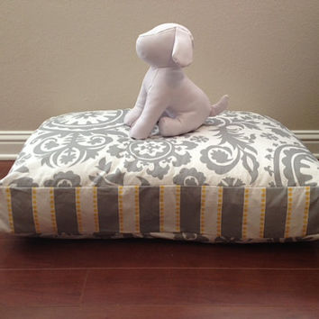 LARGE Size Modern Stripes Grey Dog Bed COVER