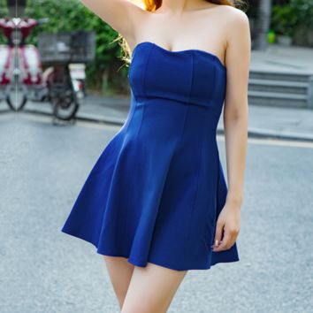 Fashion sexy women 's solid color dress