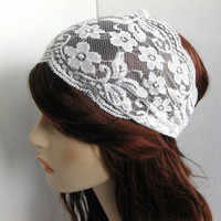 Wide Stretch Lace Headband Ivory Cream Flowers Head Wrap Women's or Girl's Hairband Hair Covering