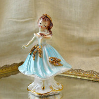 Vintage Josef Originals Girl holding bird // collectible Figure // Charmaine