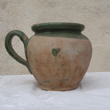 French vintage green glazed pottery jug. Rustic jug. French vintage jug. Rustic French pottery. Cottage chic. French farmhouse. Pottery