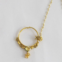 Gold Kundan Crystal Nose Ring Chain/ Indian Bridal Nose Nath Hoop/Non Pierced Delicate Nose Ring/Fake Nose Hoop/Fashion Septum Helix Hoop