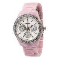 Fossil ES2791 Women's Stella Pink Resin White Dial Crystal Watch