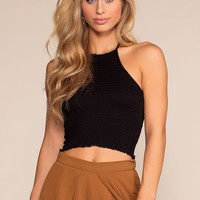 Lola Bay Halter Smocked Crop Top - Black