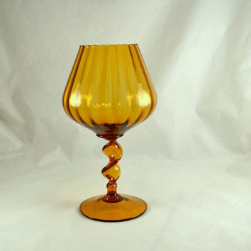 Empoli Italy Amber Glass Stemmed Candle Holder - Ribbed Optic - Twisted Spiral Stem - Tall 12 Inch Tall