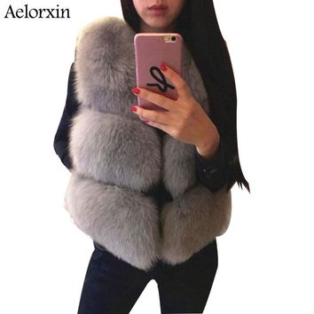 Faux Fox Fur Vest Female Coat Winter Fur Vest 2017 Luxury Brand Ladies Fur Jacket Gilet Vest Thick Warm Fur Vests Coats S-3XL