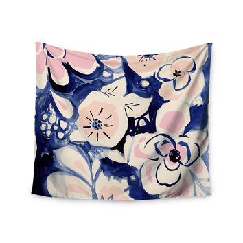 "Crystal Walen ""Midnight Moon Flower"" Blue Pink Wall Tapestry"