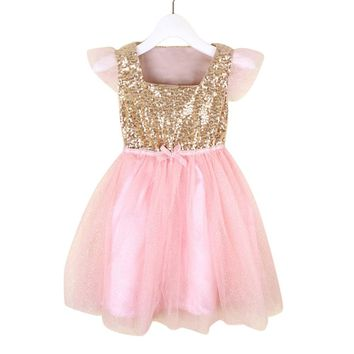 Gold Sequin Bodice Sleeveless Dress Pink Tulle