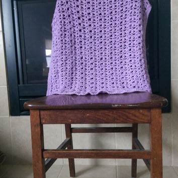 "Crochet Purple lace baby girl blanket 28"" X 23"""