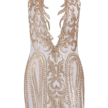 Number One Stunner Gold White Bodycon Glitter Tendril Lace Halter Keyhole Cut Out Open Back Mini Dress
