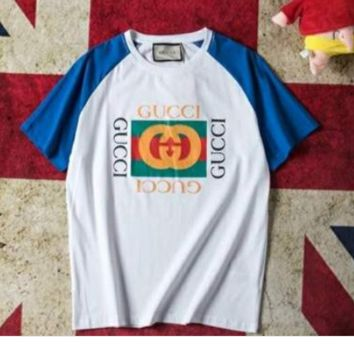 Gucci crash color joint short sleeved men's and women's washed T-shirt logo printed half sleeve