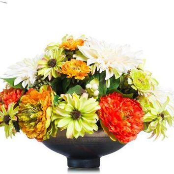 Green/Orange/Gold Peony Mum Dahlia In Copper Centerpiece