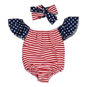 Newborn Baby Girl Rompers Off Shoulder Kids Clothes Striped Flag printing Rompers Toddler Jumpsuit  +Headband 2pcs Outfits Set