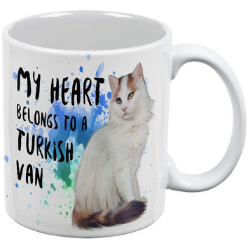 My Heart Belongs Turkish Van Cat White All Over Coffee Mug