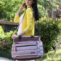 Fashion Beauty Maternity Stripe Messenger Bags Multifunction Large Capacity Baby Diaper Tote Bag = 1946695876