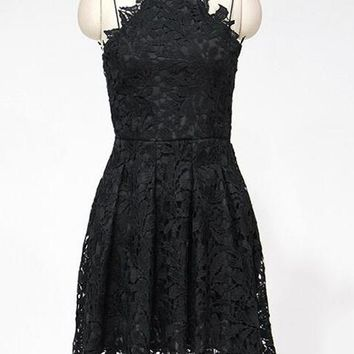Black Halter Strappy Cutwork Lace Pleated Cami Dress