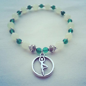 Yoga | Find Balance | Grounding Energy | Tree Pose | Silver | Green New Jade | Green Onyx | Gemstone Healing | Bracelet|Mindfulnessbracelet