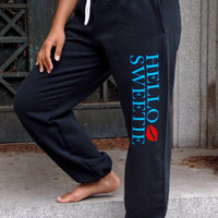Hello Sweetie Sweatpants. River Song Inspired Lounge Pants. Doctor Who. Unisex Adult Sweatpants. Drawstring Waistband.