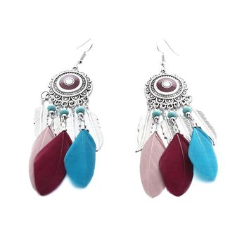 Bohemian drop earrings with real feather tassels/turquoise accent
