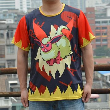 Pokemon Go Flareon  Full printed Men Tee Round-Neck Casual  Summer Short Sleeve T shirt costume