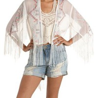 Ivory Combo High-Low Embroidered Fringe Kimono by Charlotte Russe