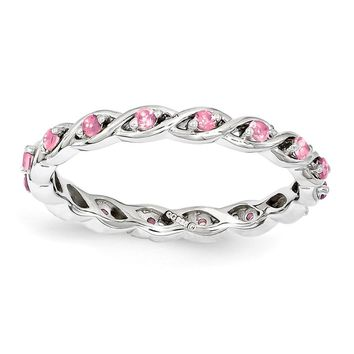 Sterling Silver Stackable Expressions Simulated Pink Sapphire Ring