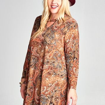 Brown Paisley Print Dress with Keyhole Front
