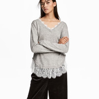 Lace-trimmed Sweater - from H&M