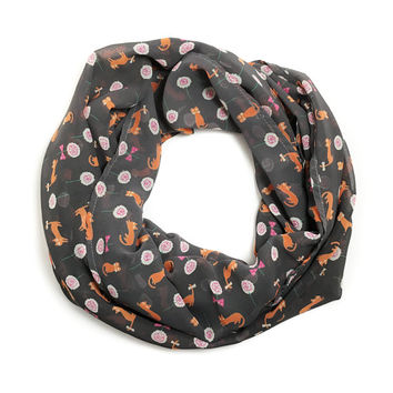 Chiffon Infinity Scarf with Ginger Cats and Flowers - Cat Lady Scarf - Cat Lover Scarf - Cat Lover Gift