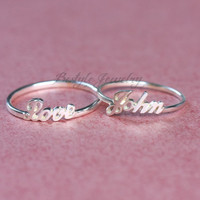 Initials Name Ring - A Perfect Gift - Handwriting Style - Sterling Silver