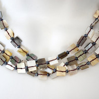 vintage 70s necklace Natural shell necklace Petite Sea Shell Necklace Beach Necklace multi strand Necklace beige gray neutral geometric