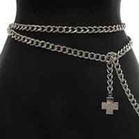 Cross Paved Crystal Stone Metal Silver Chain Belt