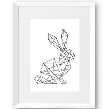 Rabbit, Nature, Polygon art, Line art, Swedish, Home Decor, Mid Century Modern, Scandinavian Print, Geometric art, Printables, Digital Print