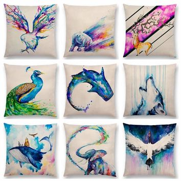 Animals Watercolor Art Painting Eagles Rhinos  Deer Elk Peacock Wolf Lion Whale Elephant Cushion Cover Sofa Throw Pillow Case