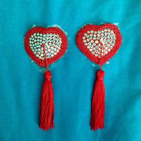 Burlesque Red Heart Pasties, Niplle Tassels