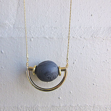NL-211 Dark Grey and Black Marble Vein Round Clay Bead with Brass Disc and Tube and Gold Curved Tube Pendant in 16K Gold Plated Brass Chain
