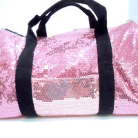 Duffle Bag Sequin Pink Bling Women Girls Gym Sport Travel Diaper Cheer Luggage