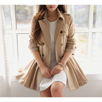 Khaki Long Sleeve Buttons Notched Collar Pleated Blazer