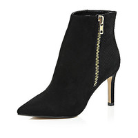Black pointed toe zip trim heeled ankle boots - ankle boots - shoes / boots - women