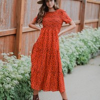 Aly Red Smocked Dress
